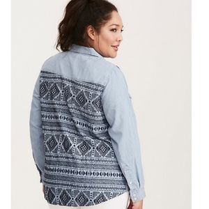 Torrid chambray embroidered back button up